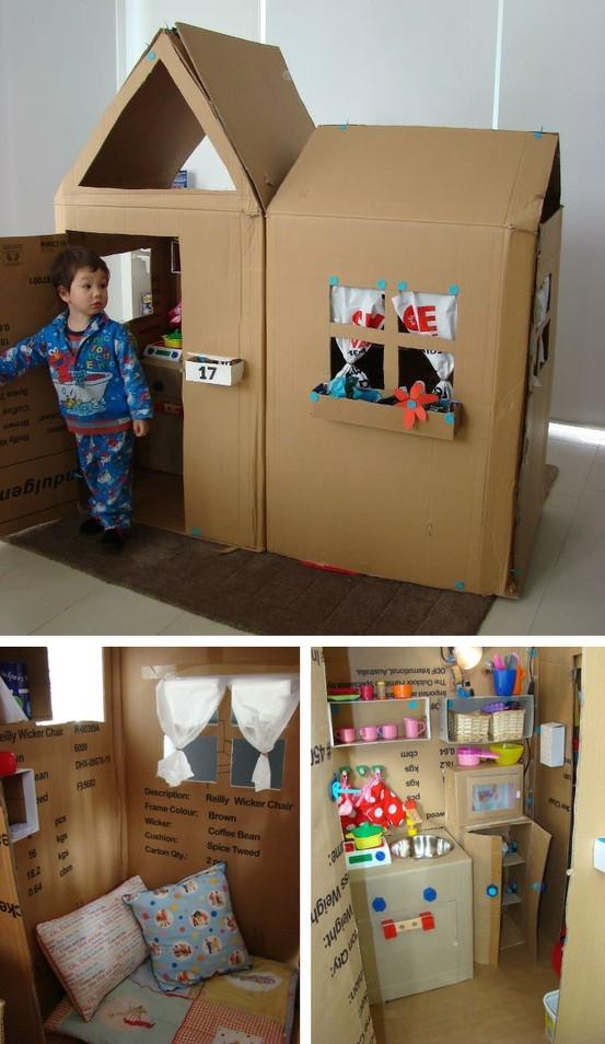 Как сделать ребенку из картона домик