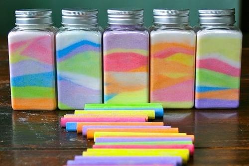 цветной песок в баночках